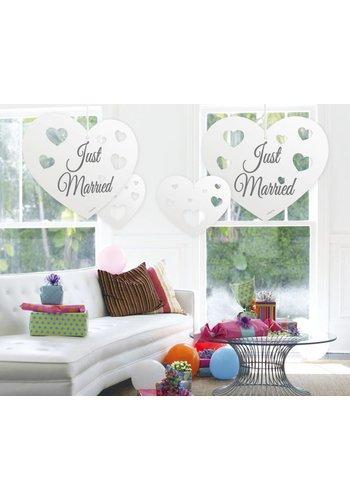 Just Married hartjes decoratie - 5 stuks