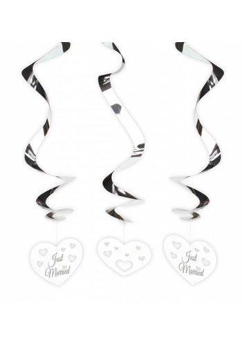 Just Married hartjes swirl decoratie - 3 stuks