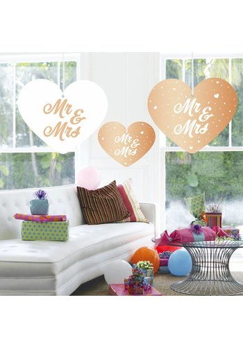 Rose Gold decoratie hartjes Mr & Mrs - 3 stuks