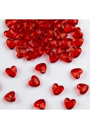 Tafel Diamantjes Hartjes Rood 12mm - 28 gram