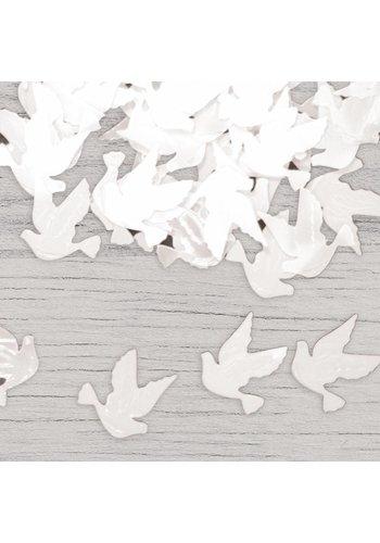 Tafelconfetti witte duifjes & hartjes
