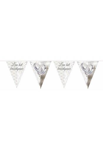 Wedding rings vlaggenlijn Leve het bruidspaar - 10 meter