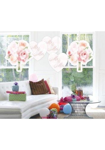 Wedding roses hangdecoraties - 5 stuks