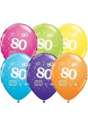 "11"" Confetti 80 jaar (28cm)"