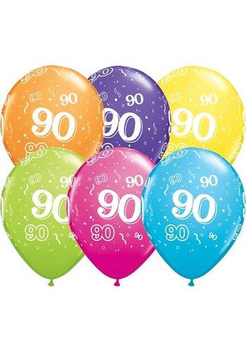 "11"" Confetti 90 jaar (28cm)"