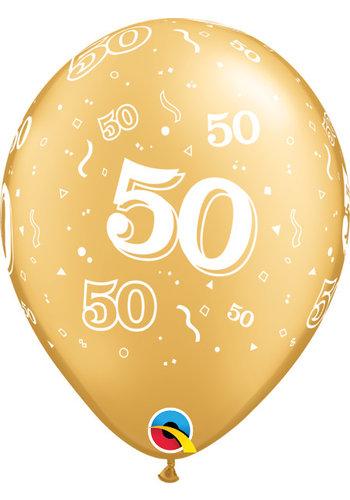 Helium Ballon 50 jaar - Goud (28cm)