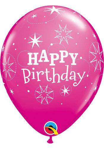 Heliumballon Happy Birthday Sparkle - Wild Berry (28cm)