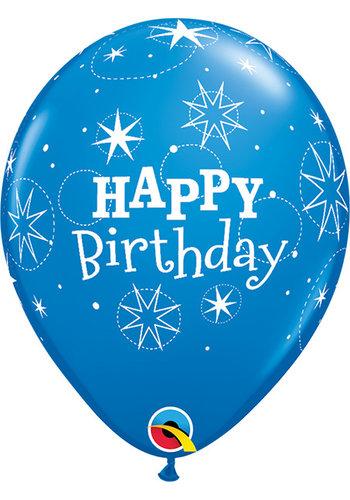 Heliumballon Happy Birthday Sparkle - Blauw (28cm)
