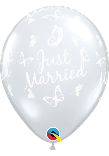 "11"" Just Married Butterflies - Transparant (28cm)"