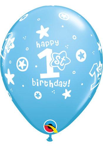 Helium Ballon 1st Birthday - Licht Blauw (28cm)