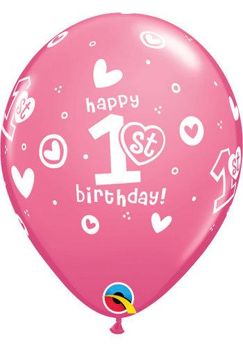 Helium Ballon 1st Birthday - Licht Roze (28cm)