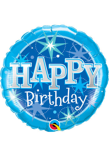 Folieballon Happy Birthday Sparkle Blauw - 45cm