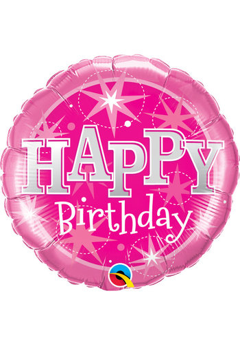 Folieballon Happy Birthday Sparkle Pink - 45cm