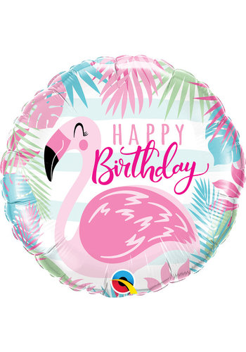 Folieballon Birthday Flamingo - 45cm