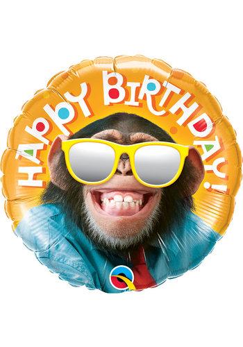 Folieballon Birthday Chimp - 45cm