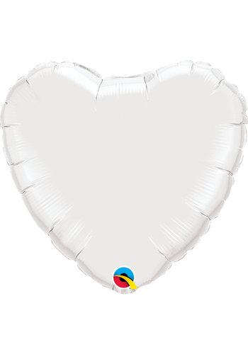Folieballon Hart Wit - 45cm