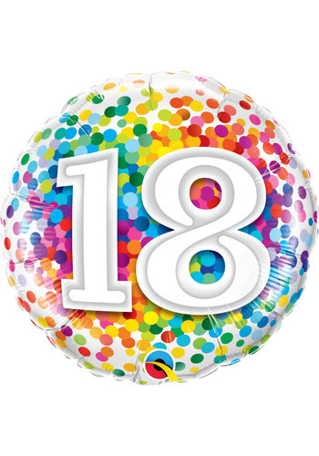 Folieballon 18 Rainbow Confetti - 45cm