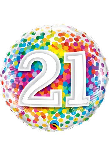 Folieballon 21 Rainbow Confetti - 45cm