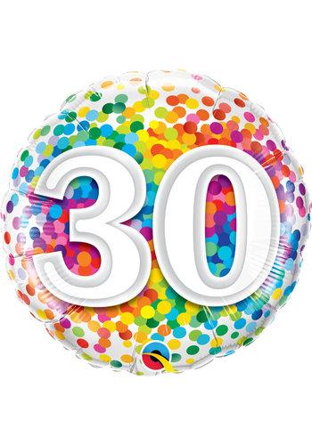 Folieballon 30 Rainbow Confetti - 45cm