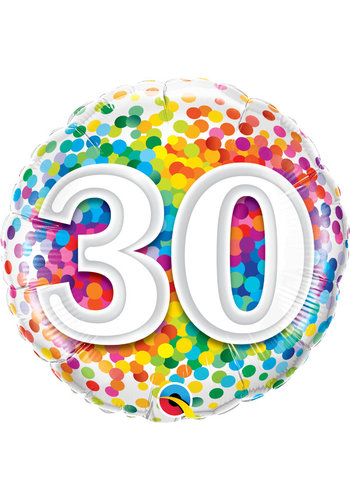 Folieballon 30 Rainbow Confetti
