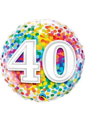 Folieballon 40 Rainbow Confetti
