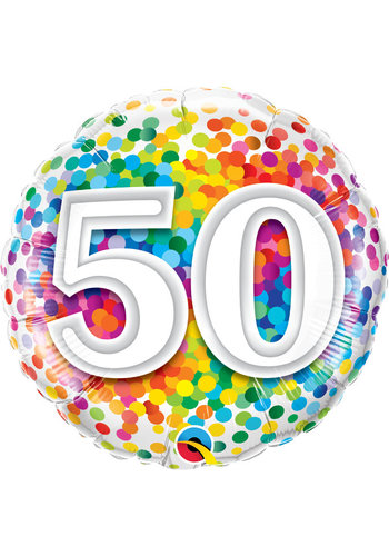 Folieballon 50 Rainbow Confetti - 45cm