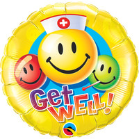 Folieballon Get Well Smiley Faces