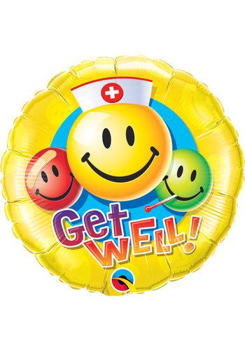 Folieballon Get Well Smiley Faces - 45cm