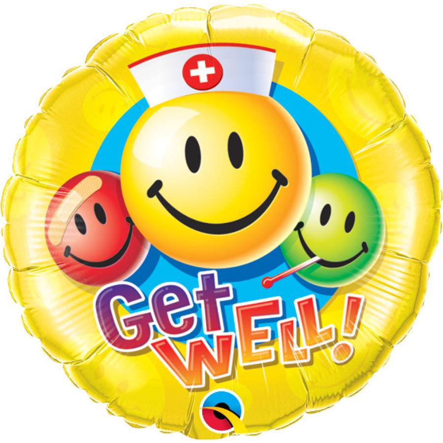 Folieballon Get Well Smiley Faces-1