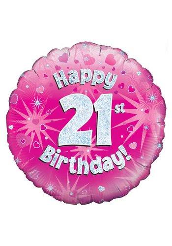 Folieballon - Happy 21 Birthday - 45cm