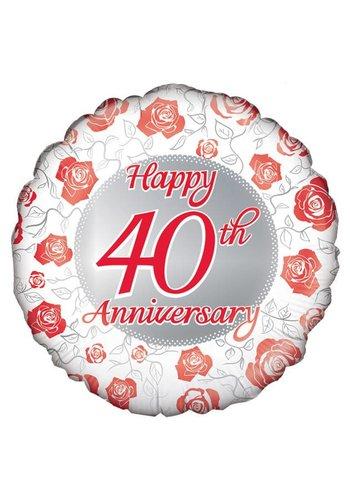 Folieballon - Happy 40th Anniversary - 45cm