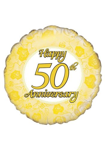 Folieballon - Happy 50th Anniversary - 45cm