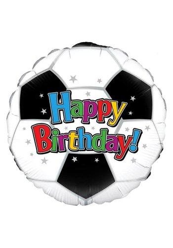 Folieballon - Happy Birthday Voetbal - 45cm