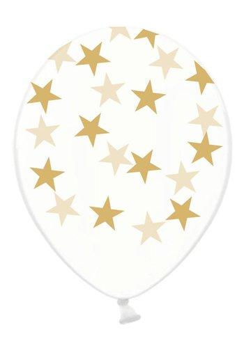 Ballonnen Doorzichtig met gouden sterren - 30cm - 6st