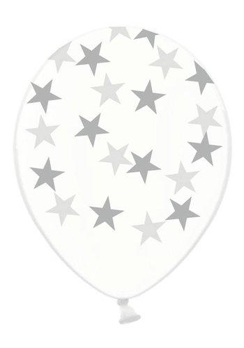 Ballonnen Doorzichtig met zilveren sterren - 30cm - 6st