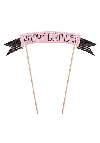Taart versiering Happy Birthday -19cm