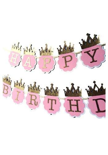 Happy Birthday letterslinger pink/goud met kroontjes