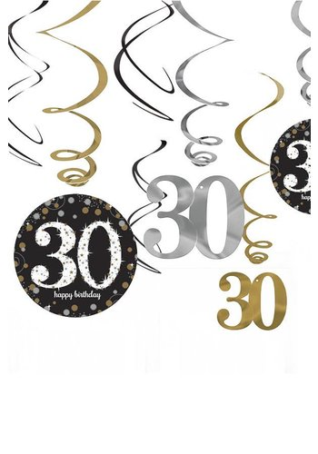 Swirl Decoration Happy Birthday 30 Silver&Black - 12 stuks