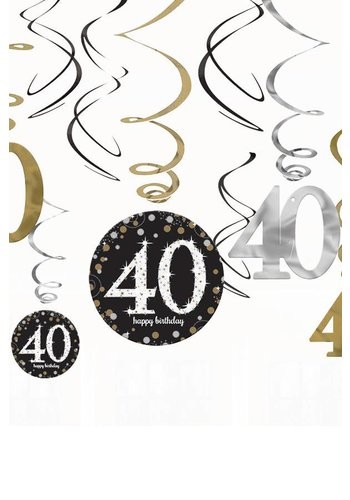 Swirl Decoration Happy Birthday 40 Silver & Black - 12 stuks