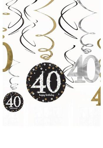 Swirl Decoration Happy Birthday 40 Silver & Black - 12 stuks
