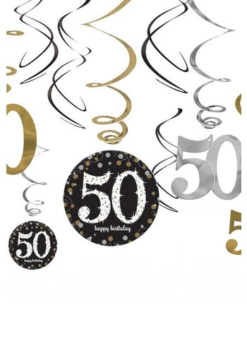 Swirl Decoration Happy Birthday 50 Silver & Black - 12 stuks