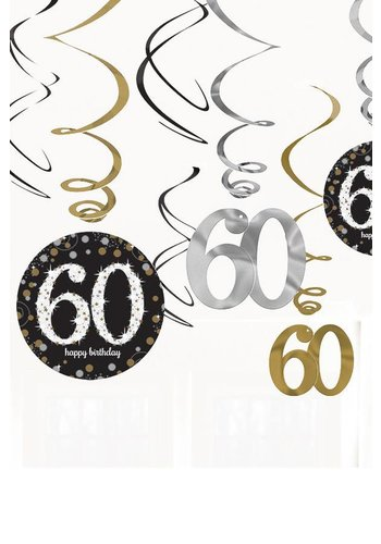 Swirl Decoration Happy Birthday 60 Silver & Black - 12 stuks