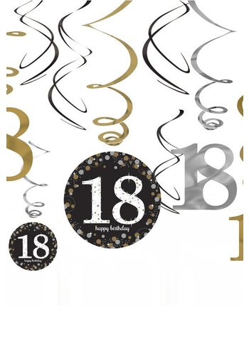 Swirl Decoration Happy Birthday 18 Silver & Black - 12 stuks