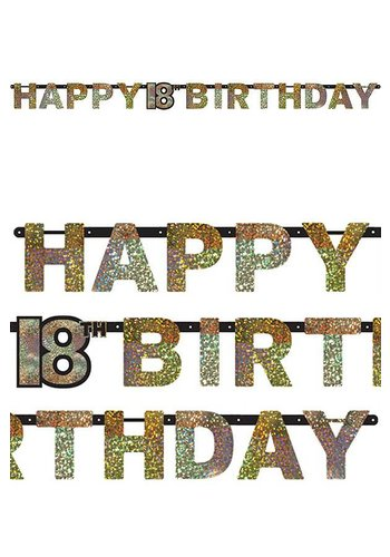 Letterbanner Happy 18th Birthday Silver & Black - 213 x 16.2 cm