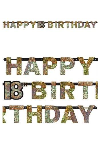Letterbanner Happy 18th Birthday Silver & Black - 213 x 16.2 cm