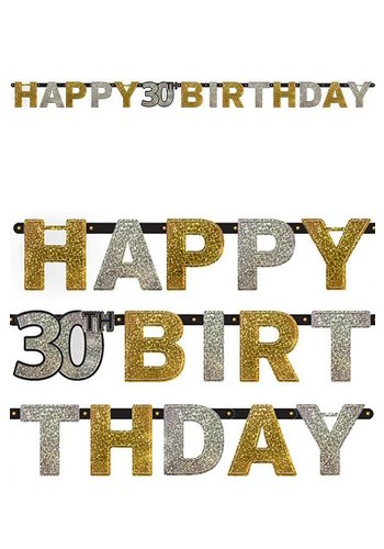 Letterbanner Happy 30th Birthday Silver & Black - 213 x 16.2 cm