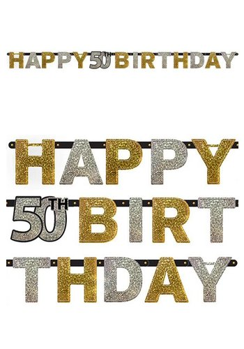 Letterbanner Happy 50th Birthday Silver & Black - 213 x 16.2 cm
