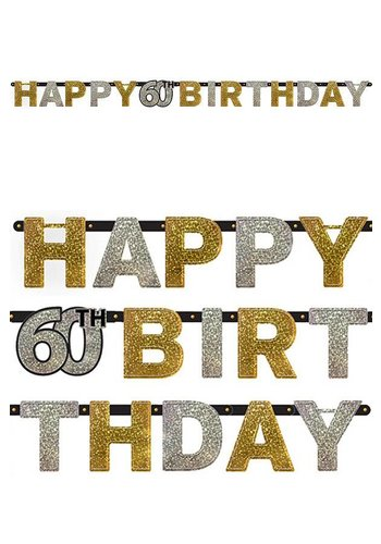 Letterbanner Happy 60th Birthday Silver & Black  - 213 x 16.2 cm