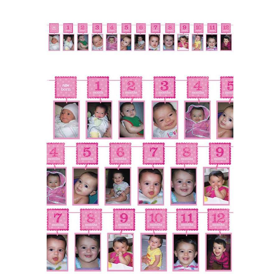 12 maanden slinger - Roze-1