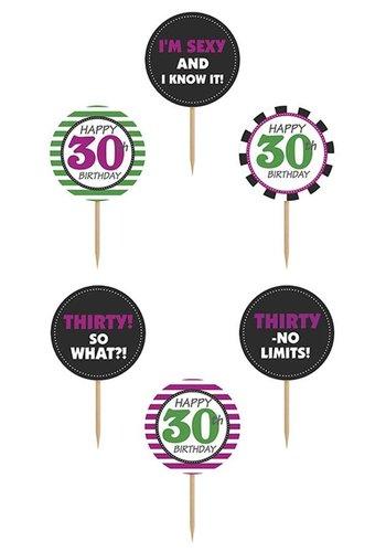 Cupcake toppers 30 - 10cm - 6 stuks